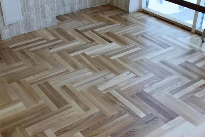 Hardwood flooring installation herringbone diagonal 2