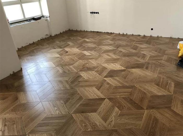Hardwood flooring installation rhombuses 2