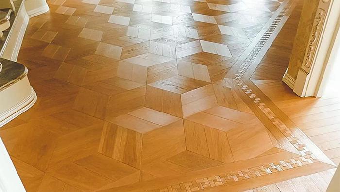 Hardwood flooring installation rhombuses 3