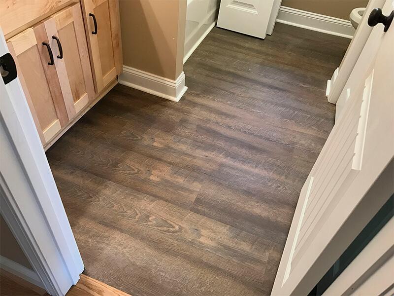 Vinyl flooring installation in coridor
